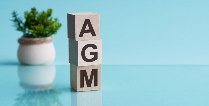 AGM - Annual general meeting - acronym on wooden cubes on blue background. Business concept.