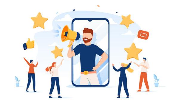 Vector illustration, referral marketing concept, friends loyalty program, promotion method. Concept of referral program