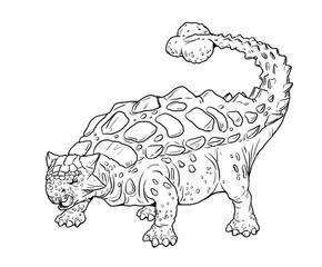 Herbivorous dinosaur - Ankylosaurus. Dino cartoon.