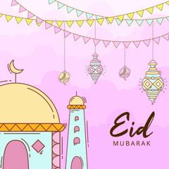 Paper Cut Style Eid Mubarak Illustration