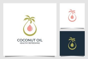 coconut oil logo design premium vector