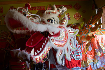View of the details of the head of the dragon in the decoration in the interior of Fung Loy Kok International Taoist Tai Chi Centre, Orangeville, Ontario, Canada