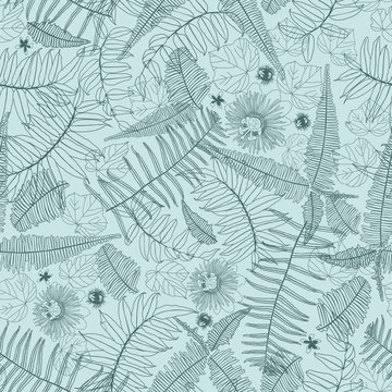 Vector green mint monochrome overlapping jungle ferns outlines seamless repeat pattern. Suitable for fabric, wallpaper and gift wrap.