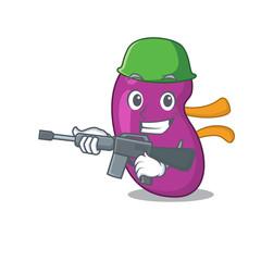 A cartoon picture of Army kidney holding machine gun