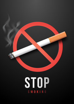 Stop Smoking placard with realistic cigarette in prohibition symbol. May 31 - World no tobacco day. Vector. Illustration.