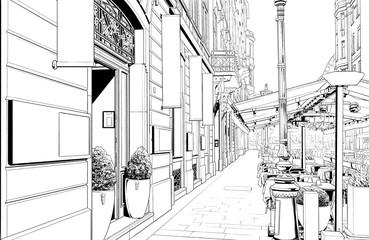 Fotobehang Illustratie Parijs 漫画風ペン画イラスト 海外_街並