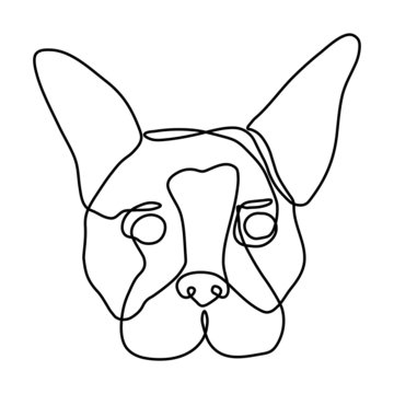 Cute and friendly dog is drawn in one line. Suitable for dog shelter logo, dog food, greeting cards. Icon for web. Vector illustration.