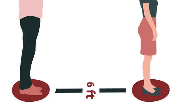 Vector illustration of the lower body of a man and woman in a line or queue standing in marked circles 6 feet apart with a sign. Great for social distancing banner, advertisement, poster or promotion.