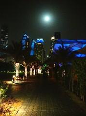 Illuminated Habtoor Grand Resort & Spa Against Full Moon Night