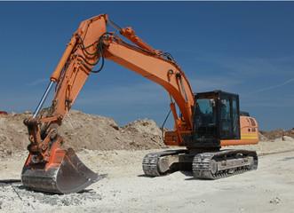 Pelleteuse sur un chantier
