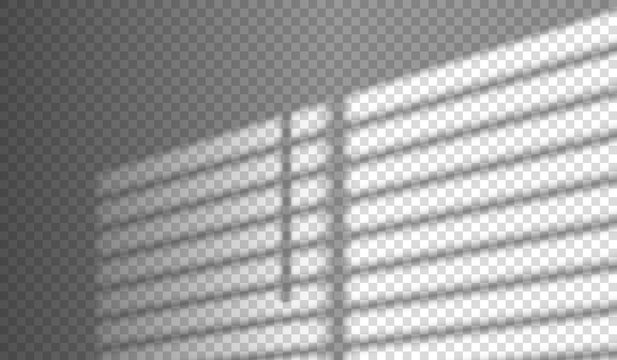 blinds shadow overlay window light effect on transparent background