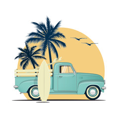 Surfing retro pick up truck with surf boards on sunset with palm silhouettes. Summer vacation or summer party themed vector illustration for flyer or poster or t-shirt design.