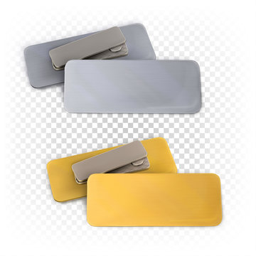 Set of blank metallic gold and silver rectangular badges on a magnet. Corporate, business template, mock up. Vector 3d illustration isolated on white background.