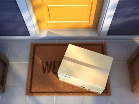 Online purchase delivery service concept. Cardboard parcel box delivered outside the door. Parcel on the door mat near entrance door. 3d rendering