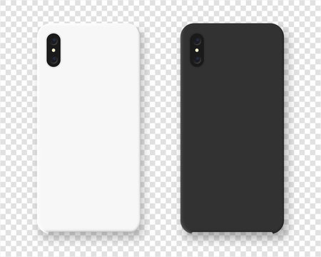 Smartphone case mockup. Realistic cases for smartphone isolated on transparent background. Vector illustration.
