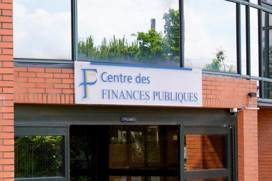 centre des Finances Publiques logo Tax office sign logo building French public finance administration