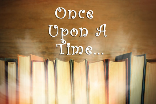 Many books of fairy tales and text Once upon a time