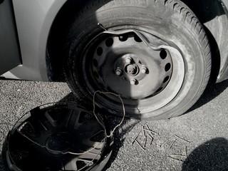 Obraz Cropped Image Of Broken Down Car On Street - fototapety do salonu