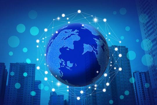 Futuristic communication technology concept. World globe with network illustration on city background