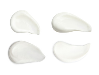 Set of delicious natural yogurt on white background, top view