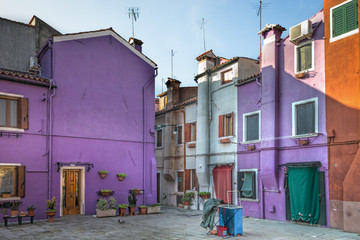 Printed kitchen splashbacks Buenos Aires Picturesque square with colorful facades in Burano
