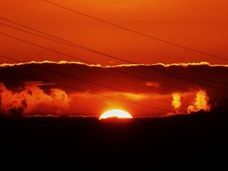 Foto auf AluDibond Rot kubanischen Scenic View Of Landscape Against Cloudy Sky