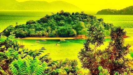 Fototapeten Gelb Scenic View Of Landscape Against Sky