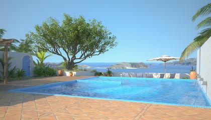 3d illustration - Swimming Pool mit Meerblick - Sommer - Urlaub - Ferien