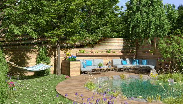 3d illustration - Garten mit Teich und einer Sitzecke und einer Hängematte - Sommer