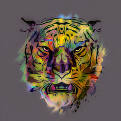 abstract colorful background with a tiger