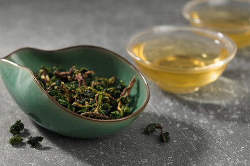 Oolong chinese tea leaves and hot drink