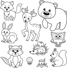 Forest animals. Fox, bear, raccon, hare, deer, owl, hedgehog, squirrel, agaric and tree stump.