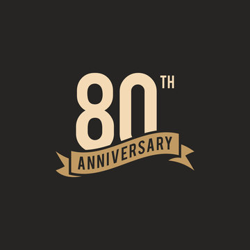 80th Years Anniversary Celebration Icon Vector Logo Design Template