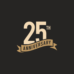 25th Years Anniversary Celebration Icon Vector Logo Design Template