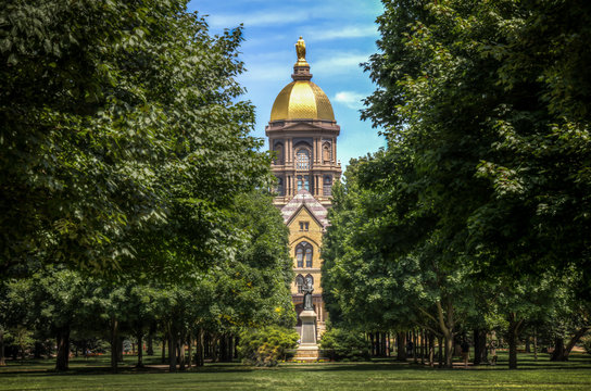 Mary stands atop the Golden Dome of the University of Notre Dame Main Administration Building IV