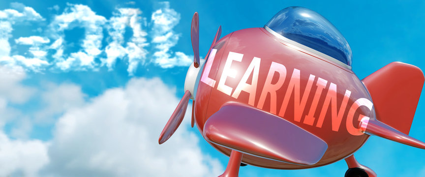 Learning helps achieve a goal - pictured as word Learning in clouds, to symbolize that Learning can help achieving goal in life and business, 3d illustration
