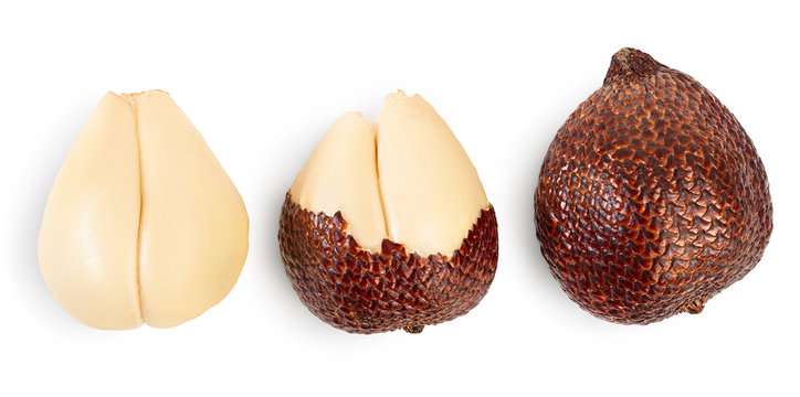 Salak snake fruit isolated on white background with clipping path and full depth of field. Top view. Flat lay. Set or collection