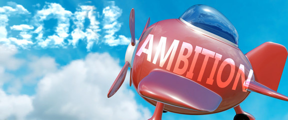 Ambition helps achieve a goal - pictured as word Ambition in clouds, to symbolize that Ambition can help achieving goal in life and business, 3d illustration
