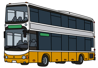 The vectorized hand drawing of a yellow and white double decker city bus