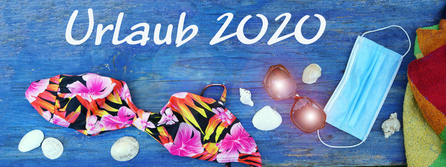 Holiday 2020, Banner with mask, bikini and towel