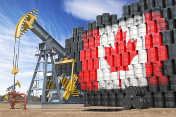 Oil production and extraction in Canada. Oil pump jack and oil barrels with UCanadian flag.