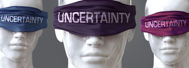 Uncertainty can blind our views and limit perspective - pictured as word Uncertainty on eyes to symbolize that Uncertainty can distort perception of the world, 3d illustration