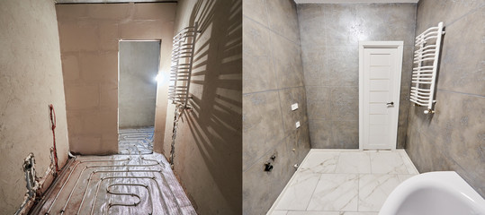 Comparison of bathroom in apartment before after renovation. Big light new bathroom in grey tones with white warm tiled floor, white doors vs unfinished room, empty doorway, floor heating pipe system Wall mural