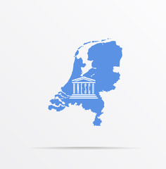 Obraz Vector map Netherlands combined with United Nations Educational, Scientific and Cultural Organization UNESCO flag. - fototapety do salonu