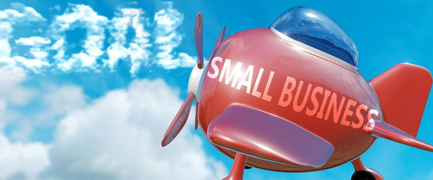 Small business helps achieve a goal - pictured as word Small business in clouds, to symbolize that Small business can help achieving goal in life and business, 3d illustration