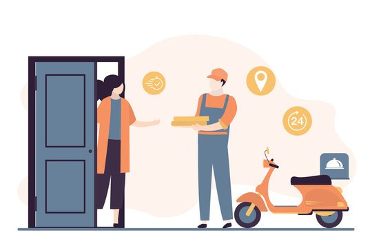 Deliveryman with pizza boxes and woman client near open door. Fast delivery service concept background.