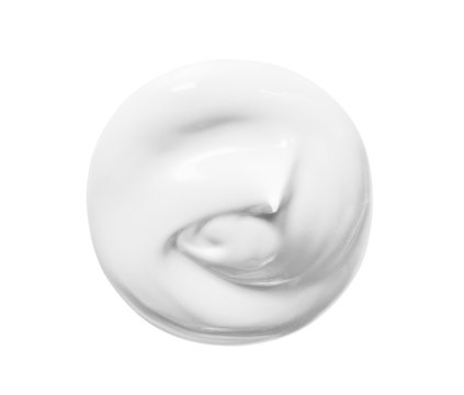 White cosmetic beauty creme swatch swirl isolated on white background. Skin care lotion, face mask blob. BB CC cream texture