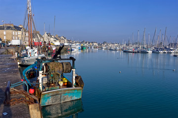 Fishing boat in the port of Saint-Vaast-la-Hougue, a commune in the peninsula of Cotentin in the Manche department in Lower Normandy in  north-western France