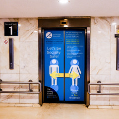 South London Shopping Centre Lift Doors Advising Shoppers To Keep 2m Apart