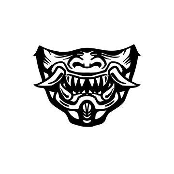 Evil Samurai Mask. Demonic face. Mask print